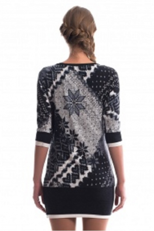 7296.3141 Блуза трикотажная силуэта баллон геометрия чёрно-белый