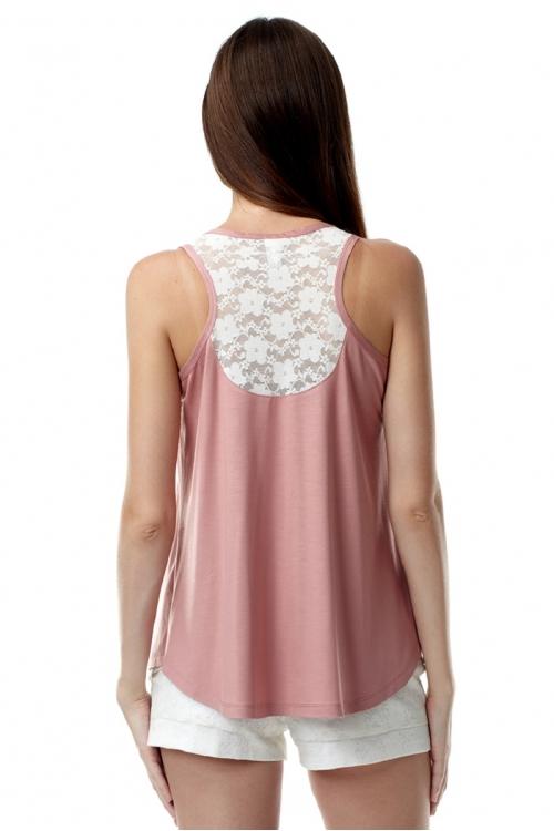 7358.100 Блуза свободного силуэта трапеция комбинированная с гипюром пенка