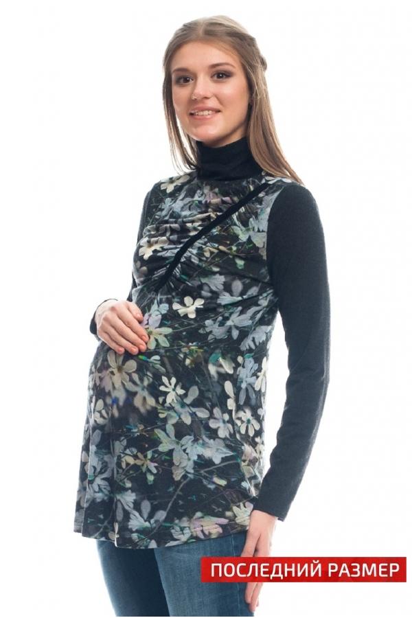 7497.3368 Блуза трикотажная прямого силуэта комбинированная флора-голубой-антрацит