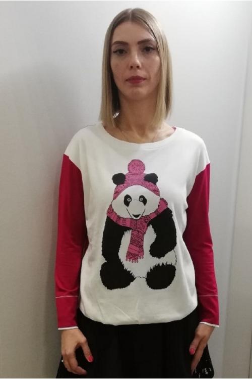 7504.3893 Блуза трикотажная силуэта баллон с принтом молочный+малина