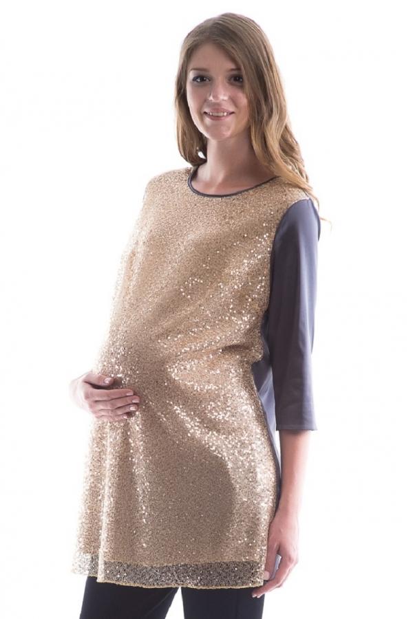 7516.6103 Блуза-туника комбинированная прямого силуэта золото/серый