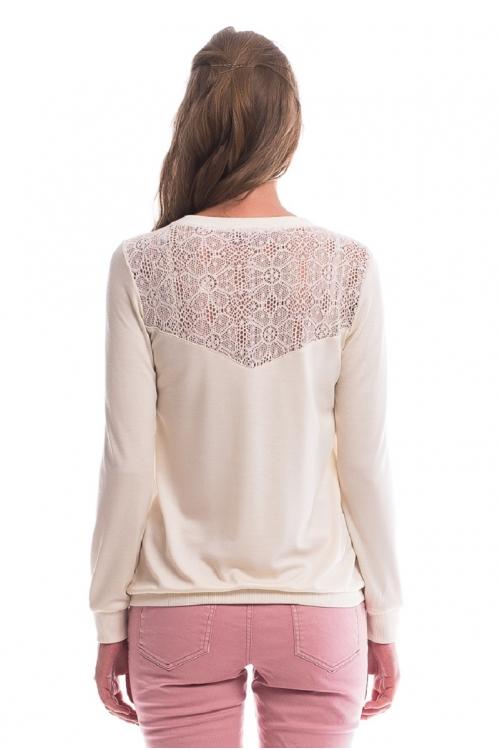 7528.286 Блуза трикотажная баллон комбинированный молочный