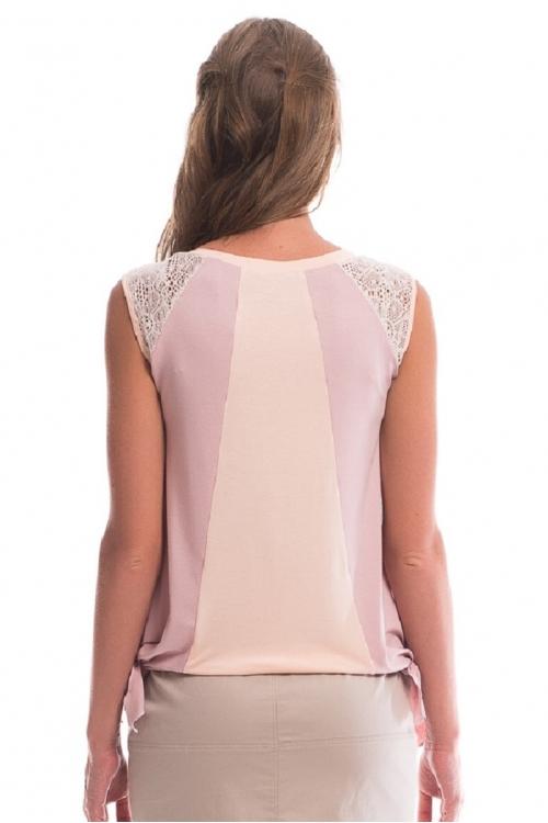 7533.1858 Блуза трикотажного силуэта баллон светлый персик+пенка