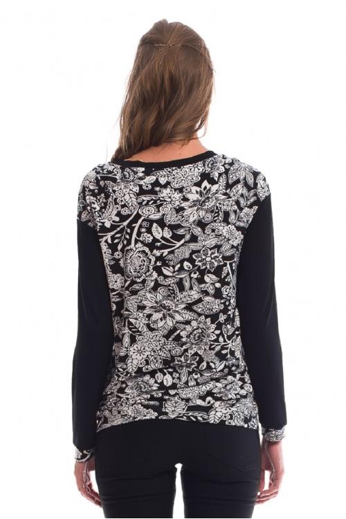 7541.3135 Блуза трикотажного силуэта баллон флора чёрно-белый
