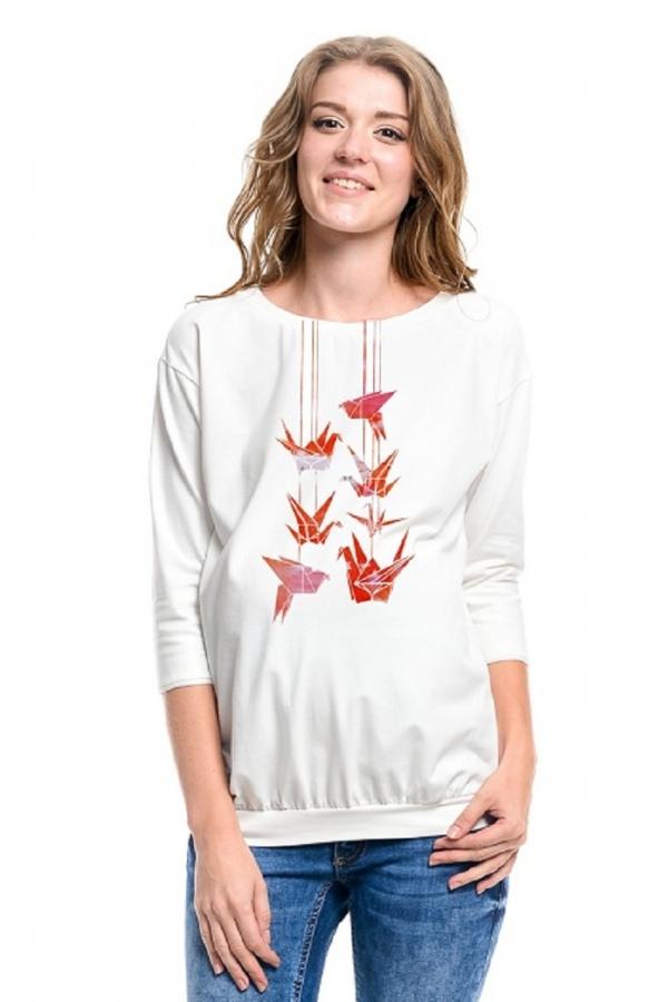 7626.7439 Трикотажная блуза для беременныхс принтом оригами