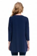 7627.3509 Блуза туника прямого силуэта для кормления темно-синий и флора сине-белый