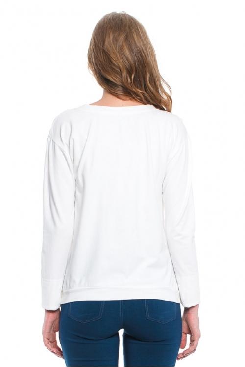 7651.7439 Блуза трикотажная силуэта баллон с принтом молочный