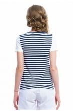 7686.1810 Блуза трикотажная прямого силуэта для кормления геометрия сине-белый-молочный