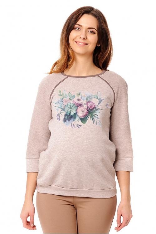 """7700.450 Молодежный свитшот для беременной с принтом """"цветочная акварель"""""""