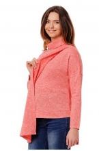 7703.4512 Блуза трикотажная удлиненная прямого силуэта для кормления коралловый меланж