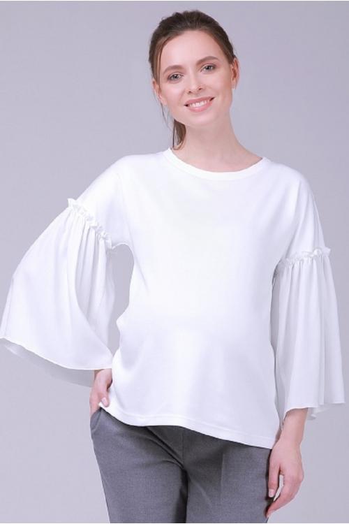 7763.3751 Элегантная трикотажная блуза прямого силуэта с объёмными рукавами