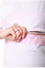 7771.7405 Блузка трикотажная прямого силуэта для кормления белый/розовый пайетки и декор