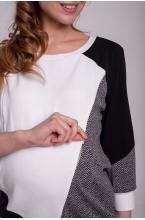 7788.105 Блуза трикотажная силуэта баллон для кормления рукав 3/4 черный и белый