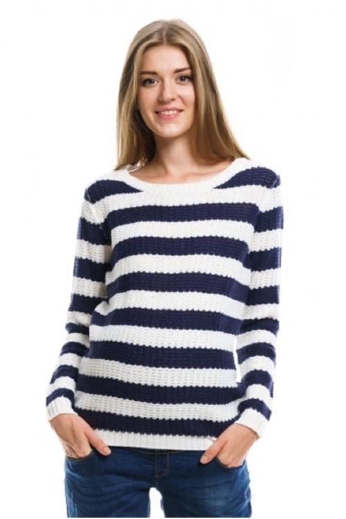 7938.0059 Пуловер прямого силуэта молочно-синяя полоска