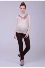 2696.2036 Облегающие эластичные брюки для беременной на широком поясе шоколадный