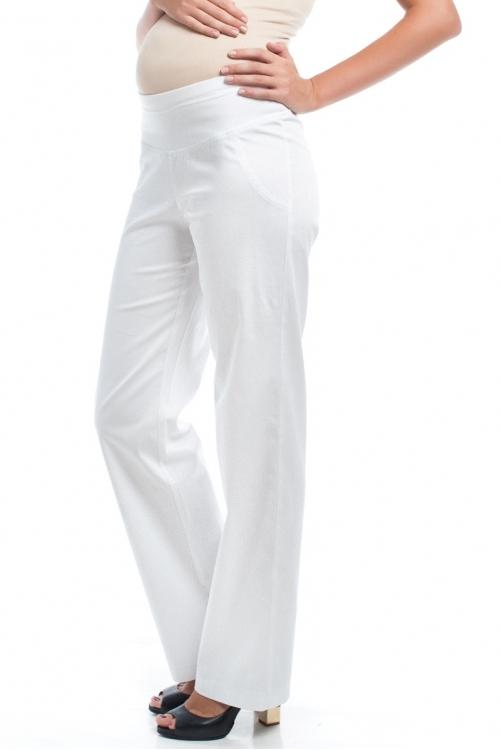 2575.2201 Брюки прямого силуэта с круговой трикотажной кокеткой белый