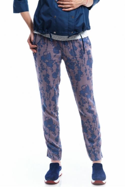 2626.014 Брюки зауженного силуэта с эластичным поясом флора-синий