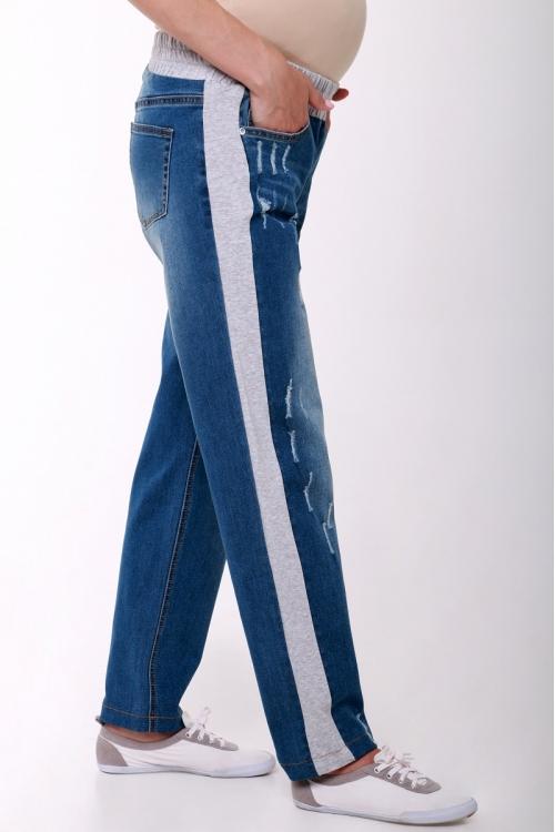 2117.0059.С Брюки джинсовые прямого силуэта с вставками по бокам и эластичным поясом светло-синий