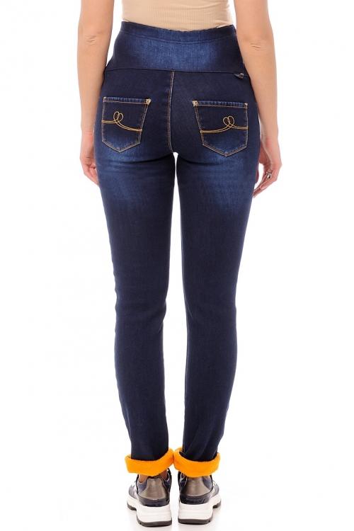2207.0041 Брюки джинсовые на флисе зауженного силуэта с трикотажной кокеткой по переду синий