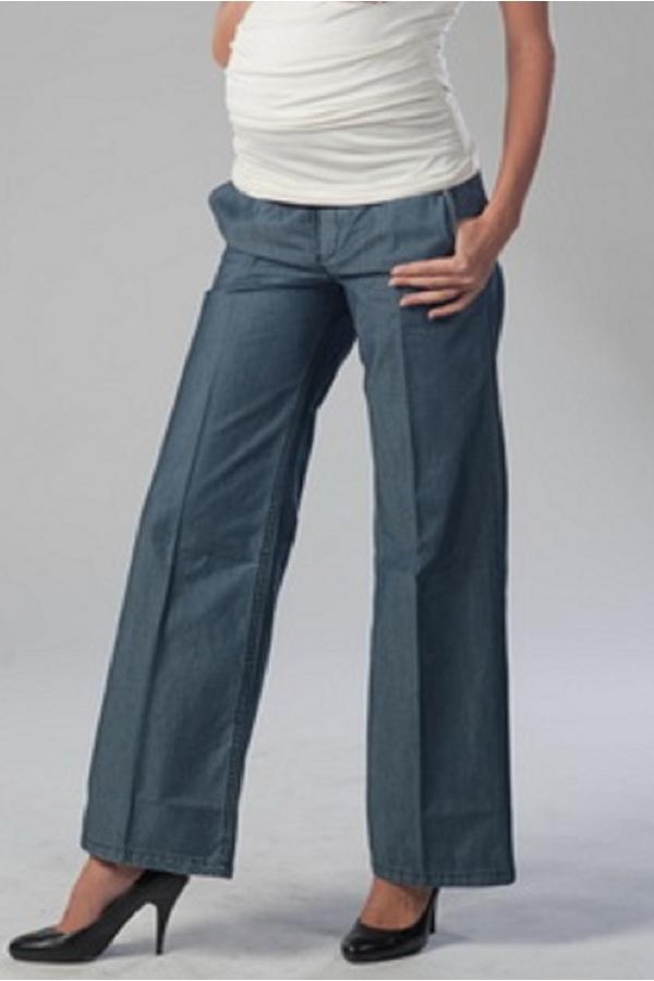 2437.0010 Брюки джинсовые прямого силуэта тонкий джинс синий