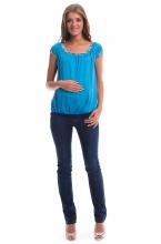 2482.2473 Брюки джинсовые прямого силуэта с трикотажной кокеткой по переду синий