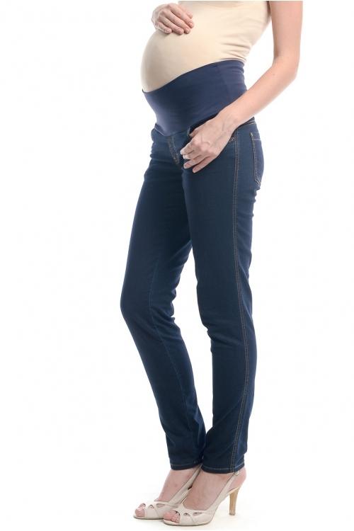 2492.1064 Брюки джинсовые узкого силуэта с круговым трикотажным поясом тёмно-синий
