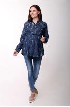 2610.0011 Брюки джинсовые узкого силуэта с круговым эластичным поясом синий