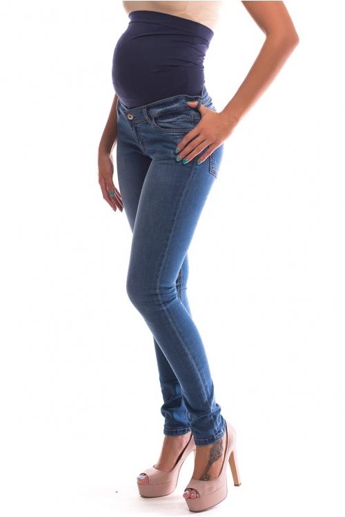 2684.0011 Брюки  ждинсовые узкого силуэта с круговой кокеткой светло-синий