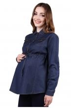 6199.1078 Блуза-туника джинсовая Х-образного силуэта (брошь съёмная) синий