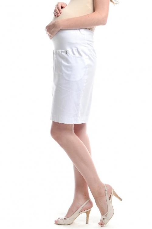 394.2201 Юбка-карандаш прямого силуэта с круговой трикотажной кокеткой белый