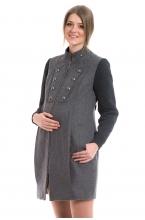 1016.7212 Пальто прямого силуэта на подкладе серый