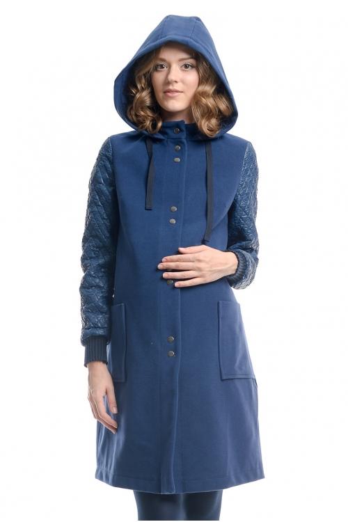 1034.7213 Пальто NEWFORM для беременных прямого силуэта с карманами синий