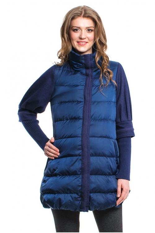 1041.7088 Пальто NEWFORM комбинированное А-силуэта синий