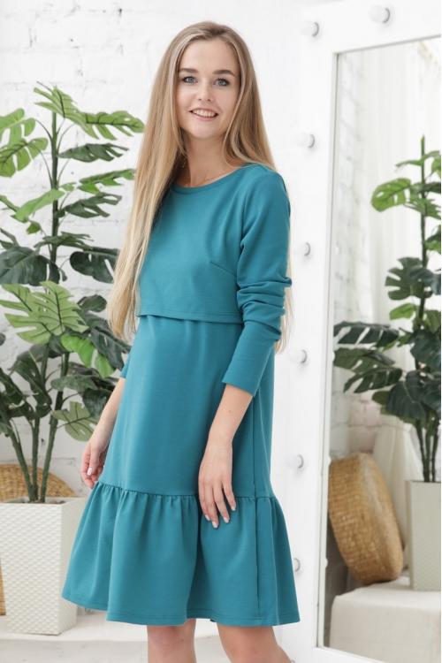 1-232507Е Платье ФЭСТ для беременных и кормящих морская волна