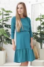 1-232507Е Платье для беременных и кормящих морская волна