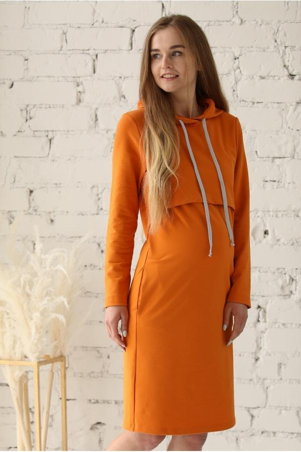 1-248505Е Платье-худи  для беременных и кормящих горчичный