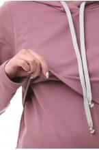 1-248505Е Платье-худи с капюшоном и карманами для беременных и кормящих пурпурный