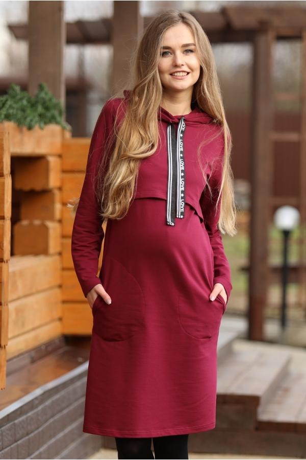 1-249505Е Платье для беременных и кормящих гранатовый