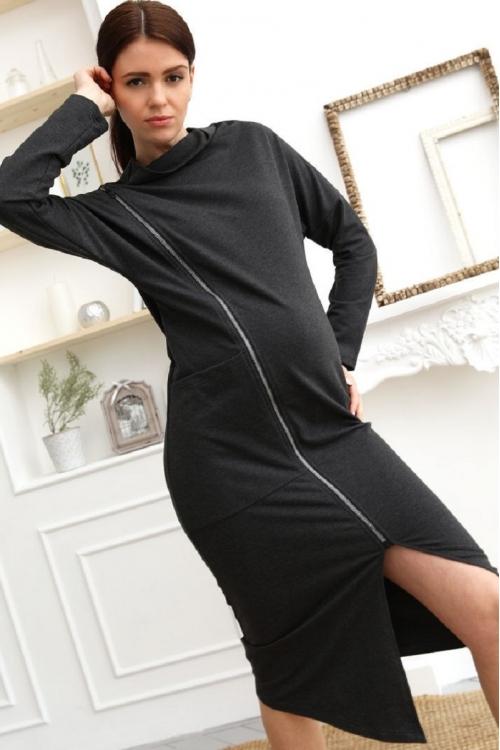 1-253505Е Платье для беременных и кормящих женщин темно-серый
