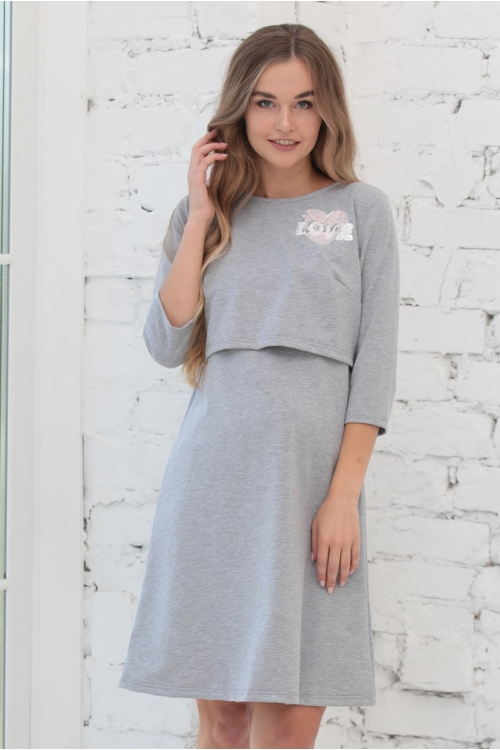 1-45505В Платье ФЭСТ в спортивном стиле для беременных и кормящих серый меланж