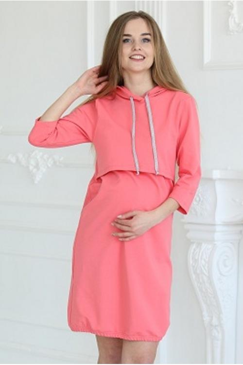 1-75505В Платье-худи с капюшоном для беременных и кормящих коралловый