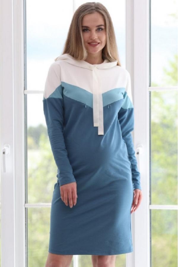 1-99505Е Платье универсальное - для беременных и кормления сине-зеленый-молочный