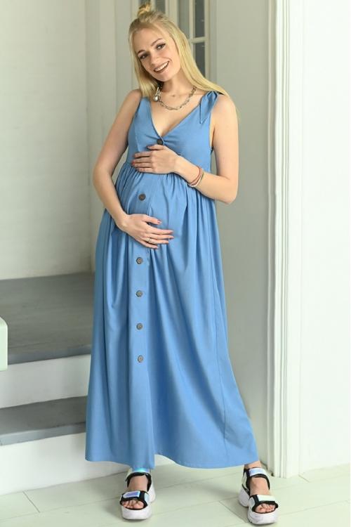 7ПТ108-30134 Сарафан для беременных и кормящих женщин темно-синий