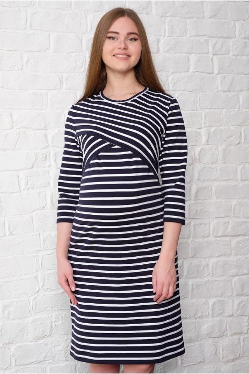 2-НМ 35314 Платье женское для беременных и кормящих бежевый/синий