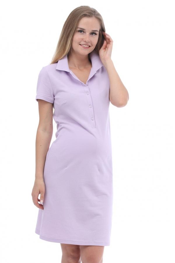 3-27504А Платье поло для беременных и кормящих лавандовый