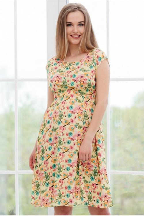 3-32504 Платье  для беременных женщин желтый/зеленый