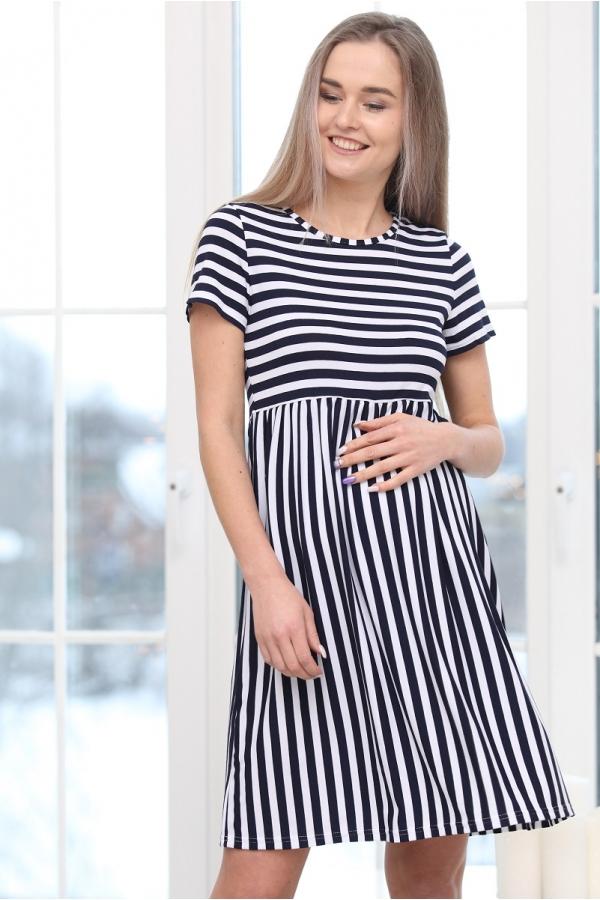 3-68509А Платье  для беременных женщин белый/темно-синий
