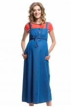 4008.1078 Платье сарафан джинсовое Х-образного силуэта светло-синий