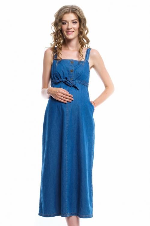 4001.1078 Платье сарафан джинсовое Х-образного силуэта светло-синий