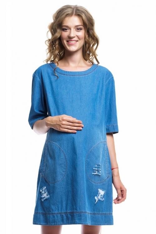 4002.1078 Джинсовое платье свободного кроя с брошью